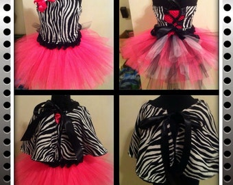 Zebra print corset top with tutu dress and matching shawl