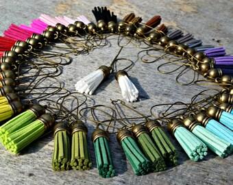 Tassel earrings, suede jewellery, leather earrings, boho jewellery, hippie earrings, gift for her, light weight, colourful jewellery