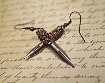 Vintage pen nib earrings, Steampunk pen nib earrings, Victorian fountain pen nib earrings, Antique pen nib earrings, Bohemian pen nib dangle