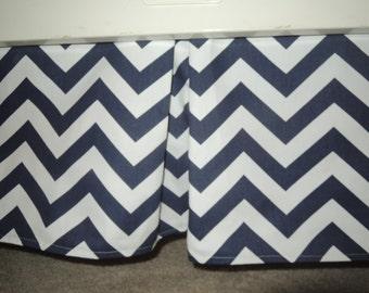 Navy Chevron Crib Skirt with Pleat