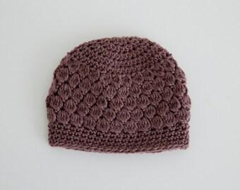 Crochet Brown Baby Beanie
