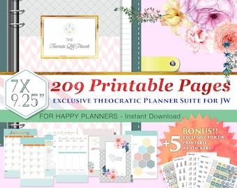 Happy Planner Size - 12 Months JW Theocratic Planner Suite – 209 sheets  – Exclusive Classy Theme - BONUS! 5 Printable sticker sheets!