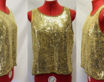 VTG 1980's Gold Sequin Sleeveless Tank Top/Blouse/Size Small/Silk Shell/Polyester Lining/Jewel Queen/Glam/NYE/Party/Event/Rocker/Holiday