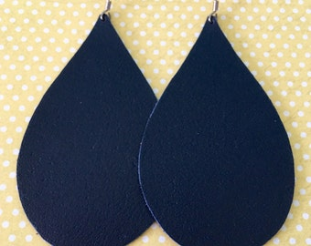 Leather Earrings Teardrop Navy