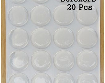 20 Epoxy Dome Stickers, One Inch Epoxy Dots, DIY Epoxy 3D Stickers 2 mm thick, Cabochons, Craft and Jewelry Supplies (EC-003)