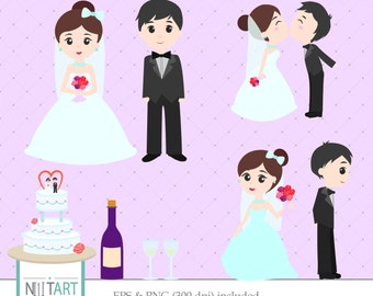 Wedding Clipart Bride And Groom Cake Vector Graphics Digital