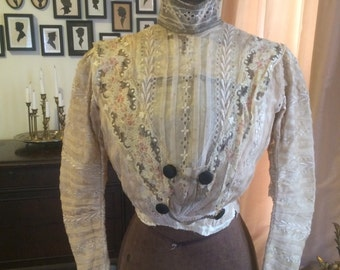 Stunning  antique 1890s silk and lace bodice