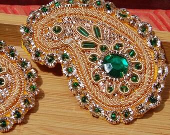 Vintage India Golden Zardozi Embellished and Emerald Jeweled Appliques QTY 2