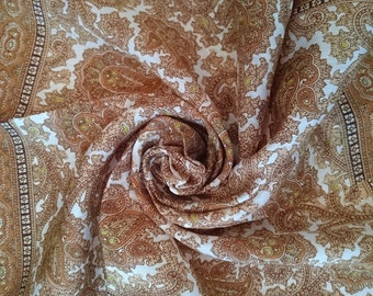 Vintage Scarf/Handkerchief - Brown Paisley design - Unused and Perfect From 1970s Stock