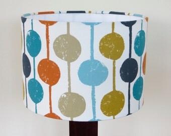 Retro Orange and Blue Drum Lampshade - Scion 'Taimi' fabric