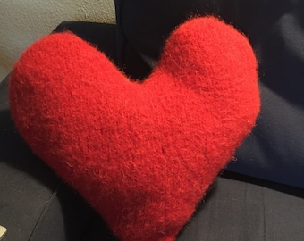 Felted Red Heart Pillow