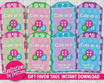 Digital Download Pink Cute as a Button Gift Tags - Custom Tags - DIY Gift Tags INSTANT DOWNLOAD