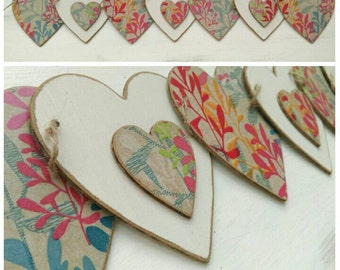 Wooden bunting, coloured leaves