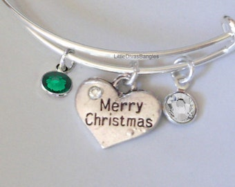 Merry CHRISTMAS Bangle W Two Birthstones - Adjustable BANGLE -Personalize Your Expandable Bracelet - Gift For Her - Under 20 USA W1