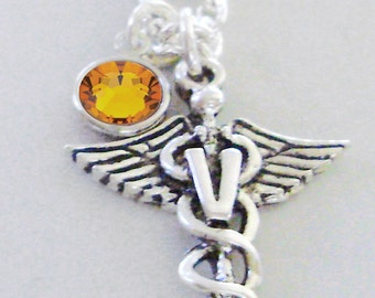 Veterinarian Chain NECKLACE W/ Swarovski Birthstone Crystal  /  Medical  Necklace / Gift For Her / Under 20  Usa  NK1