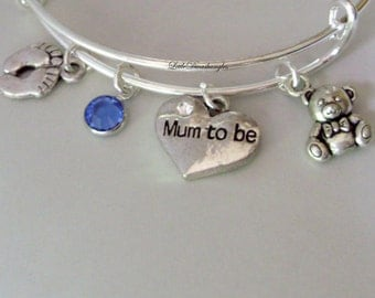 BABY Feet / MUM To Be / Teddy Bear  Charm W/ Birthstone / New Mother Adjustable Silver Bangle  / Baby Shower Gift  - Under 20  USA - NM1