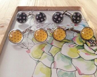 Jewelry - Dangle earrings,Silver,Brass,Peas,Black,White,Yellow,Gold,Retro,Vintage,Cabochon,Glass,Dots pattern,Fantasy,Romantic,Boho Earring