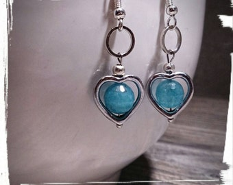 Blue Heart Jewelry - Love,Tiny Silver heart,Silver Plated,Boheme Beads,Retro, Circles, Gift for her Earrings