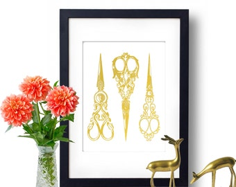 Scissors Art Gold Foil Art, Antique Scissors Print, Home Decor, Sewing Scissors