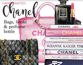 Chanel clip art fashion illustration books clipart planner graphics pink Coco Chanel handbag Chanel perfume bottle glam watercolor graphics