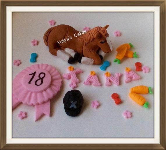 Edible Cake Images Horses : Edible horse cake toppercarrotsrosettejockey by Yulcakes ...