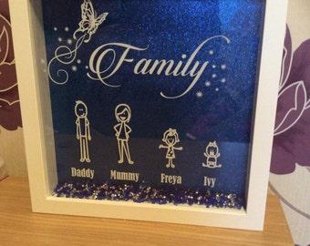 "Silhouette box frame ""FAMILY"" stick/cartoon people"