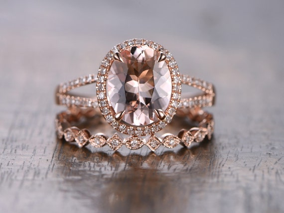 Valentine 8x10mm Oval Pink Morganite Ring Bridal Set,Split Band Engagement Ring Gold Morganite Engagement Ring Morganite Wedding Ring Set