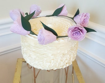 Rose Cake Topper- Floral Cake Wreath- Paper Rose - Bridal Shower- Baby Shower