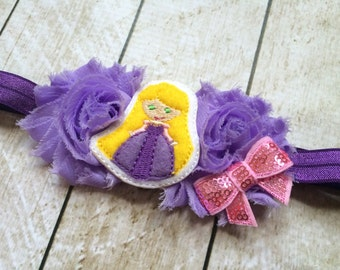 Purple Princess Headband - Flower Headband - Girl Flower Princess - Adjustable  Headband - Long Haired Princess Toddler Headband