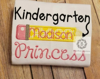 Pencil Kindergarten princess shirt