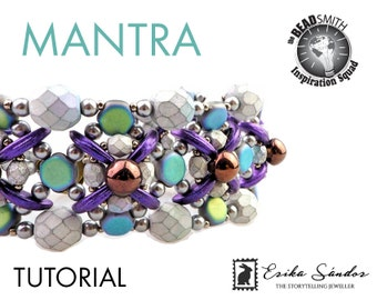 MANTRA bracelet - instant download for the pdf instructions. Bracelet with honeycomb beads, Crescent beads, Mushroom beads, pearls.
