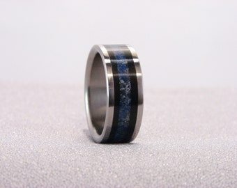 Ebony and crushed Lapis Lazuli/ Blue Dot Jasper inlay ring, Titanium Ring with inlay, rare stone inlay with wood, crushed stone inlay