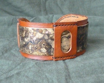 SCKLeather Handmade Patinated Brass Bracelet/Cuff Set in Veg tan Leather