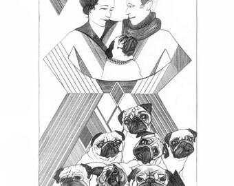 Art PUG History Postcards Diamond D'aawgs, Duke & Duchess of Windsor