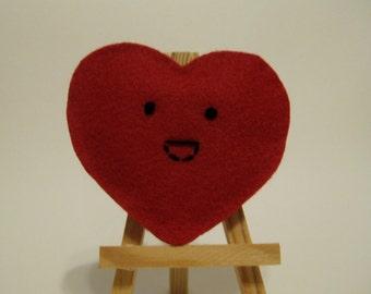 Red Felt Smiling Heart