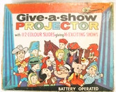 SALE! Give A Show Projector. Chad Valley 1960s Childrens Projector. Cartoons Projector. 20 Slides Included Free.
