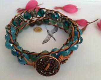 Leather wrap bracelet Bohemian leather bracelet