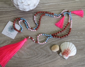 Tassel Necklace Neon Pink Tassel White Blue & Wood Beads Beach Resort Handmade