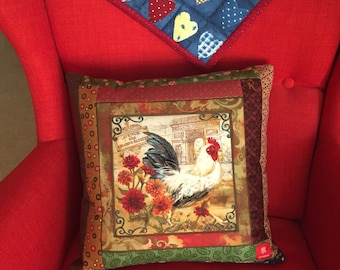 Handmade patchwork pillows ROOSTER, include insert