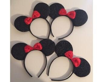 4pc, Minnie Mouse Sparkle Ears, Mickey Mouse Sparkle Ears, Mickey Mouse Party Favors, Mickey Minnie Party Ears