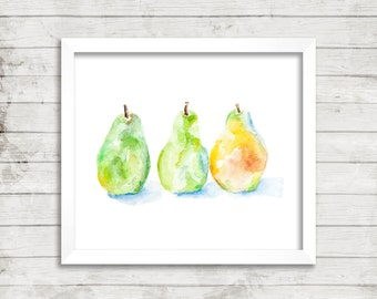 Three Pears in the Morning Sun - Giclée Print. Kitchen Art. Pear Watercolor. Fruit.