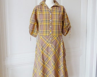 Dress cotton dress, country-style with check pattern, vintage dress for the summer