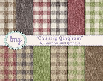 Country Gingham Digital Scrapbooking Paper in Fall and Autumn Colors - Red, Brown, Green Gingham - Instant Download, Commercial Use
