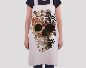 Garden Skull Pinafore / Japaneese Style Linen Apron