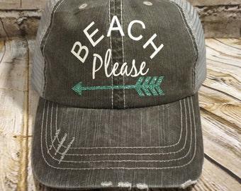 Beach hat, Personalized Trucker Hat, monogrammed hat, vinyl monogram, distressed trucker hat, monogrammed trucker hat, beach please