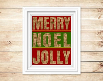 Printable Christmas Word Art Ready to be Hung with Care for the Holidays! ** Merry Noel Jolly Wall Art