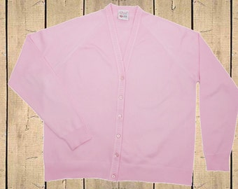 Vintage St Michael 1970s Womens Cardigan V Neck Long Sleeve Mod Pink UK 16
