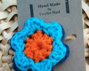 Crochet flower brooch made from cotton
