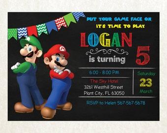 Super Mario Invitation - Super Mario Birthday Party Invitation - Super Mario Printables - Super Mario Birthday PE845