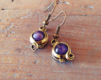 Earrings violet - amethyst / brass